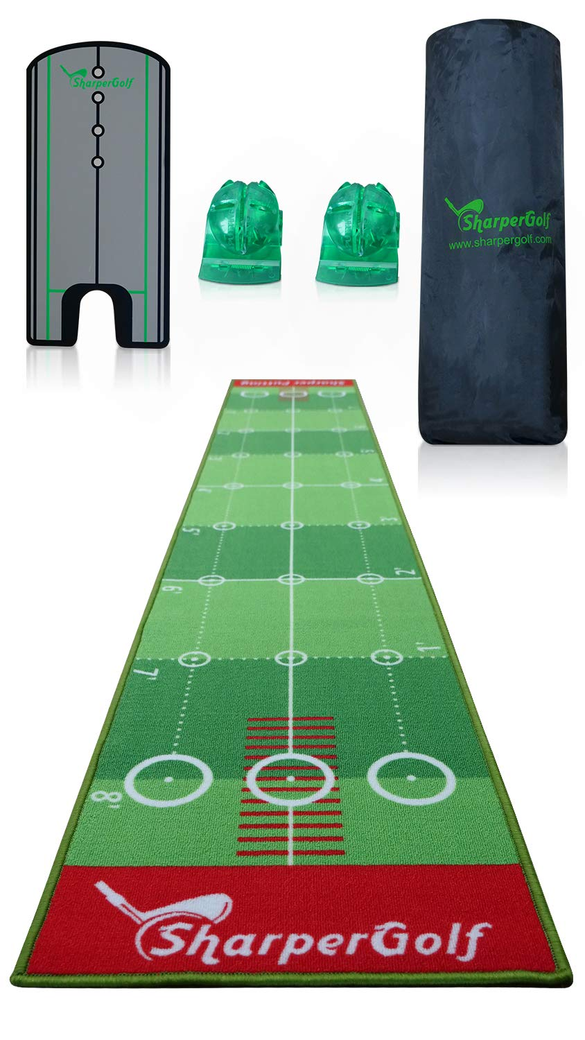 "SharperGolf 10' x 20"" Premium Indoor Putting Mat with Putting Mirror Carry Bag and Accessories Golf Putting Green Mat Indoor System"