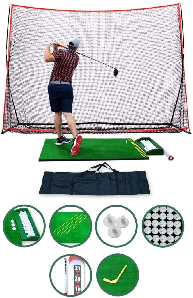 Complete Home Driving Range Golf Net and Mat Combo
